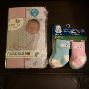 NWT swaddles and socks